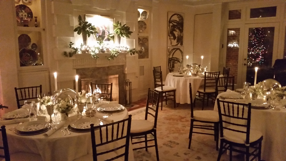 Tables set for a glamorous New Year's Eve