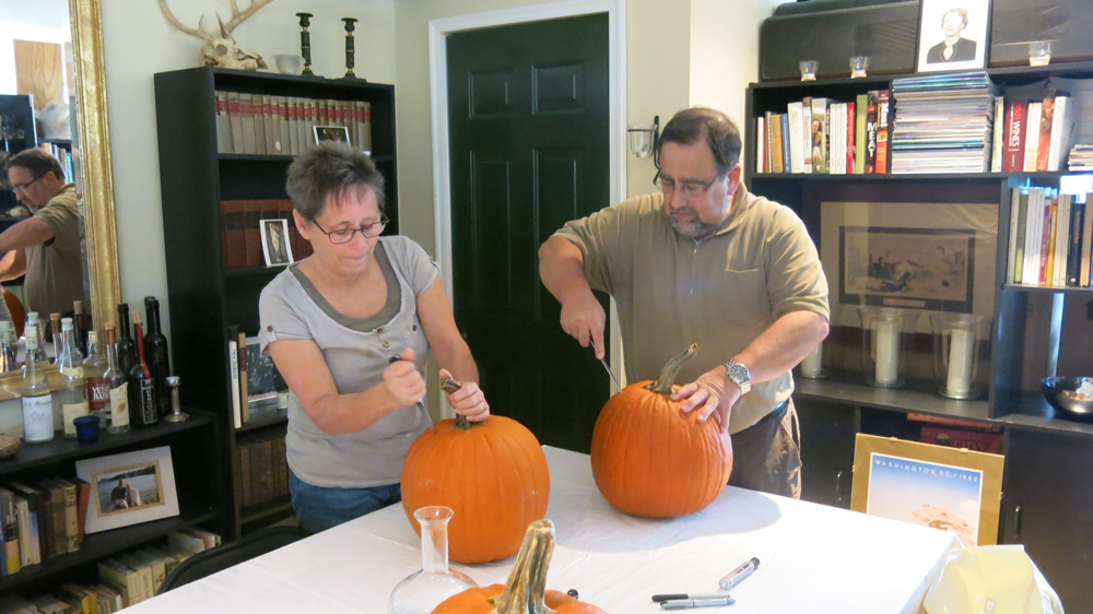Carving pumpkins for the first time