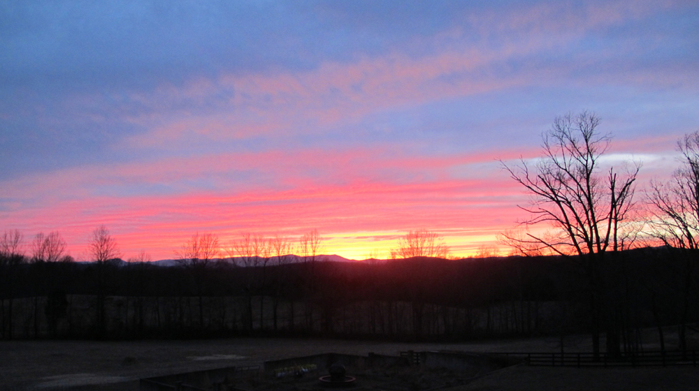 February farm sunset