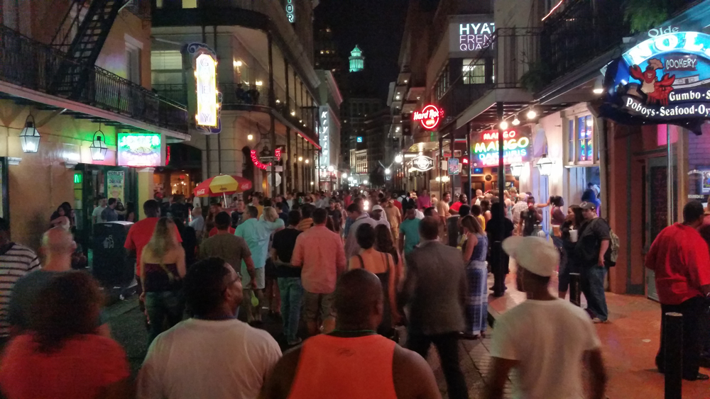 Bourbon Street is pretty smelly on an August night
