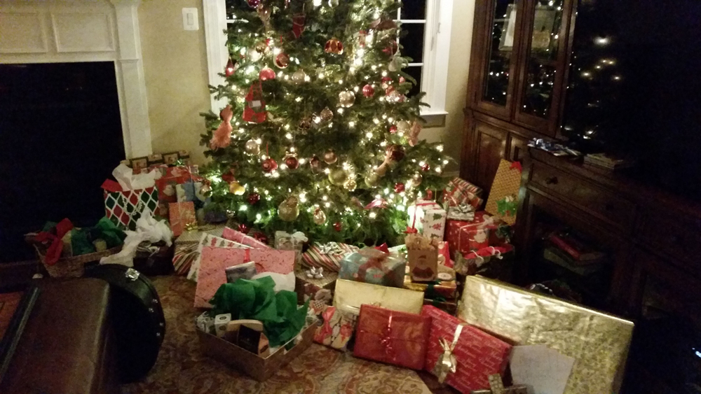 Barbara & Brian's tree with all the presents
