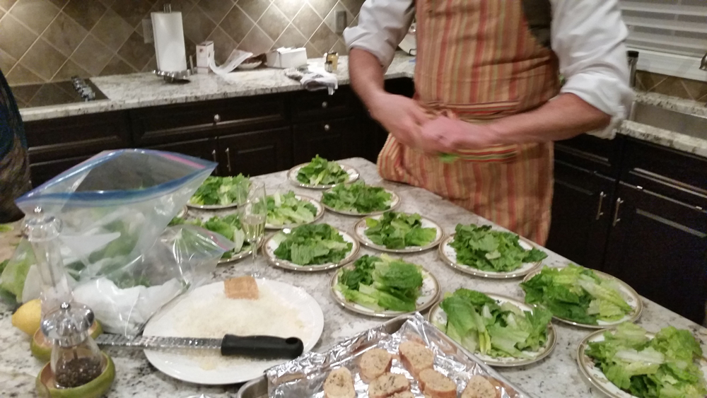 Chef Keith prepares the salads