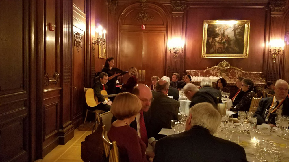 Christmas carols at the German Wine Society Dinner