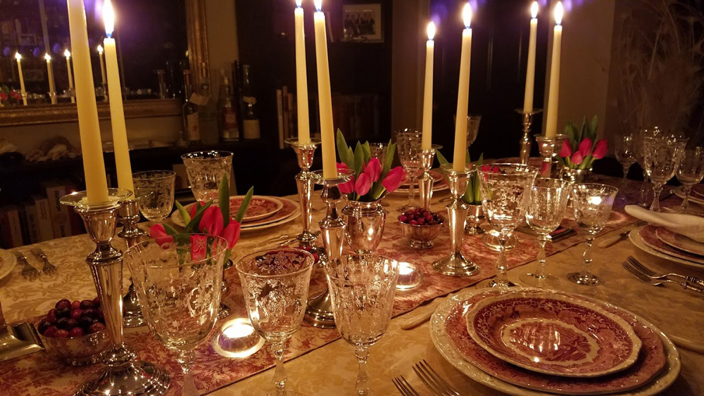 setting the table for a Miller family visit